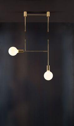 """Side Kick"" - Lighting, Minimal, Brass, Contemporary, Cafe, LED."