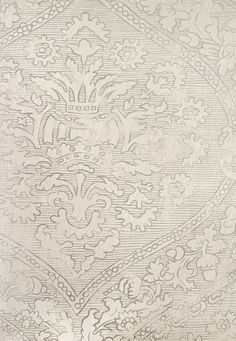 Fairfax Wallpaper Large Damask wallpaper adapted from a rare block printed fabric. In metallic silver and Grey.