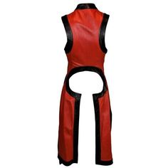 S/S 2000 Runway Alexander McQueen Red Black Leather Vest Jacket 38 (99.820 DKK) ❤ liked on Polyvore featuring outerwear, jackets, leather jackets, genuine leather jackets, 100 leather jacket, real leather jackets and alexander mcqueen jacket