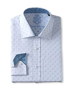 English Laundry Men's Tonal Dot Long Sleeve Shirt (Blue)