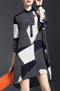 Striped Asymmetrical Dress- #trending  #fashion ==