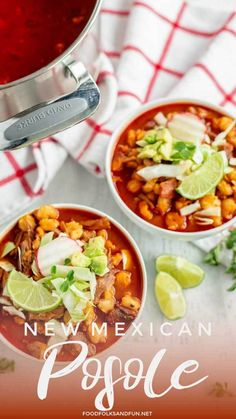 This New Mexico Posole recipe is a hearty, flavorful pork soup or stew that is made with New Mexico red chiles, garlic, pork, and hominy. Healthy Recipes, Pork Recipes, Mexican Food Recipes, Crockpot Recipes, Dinner Recipes, Cooking Recipes, Mexican Dishes, Mexican Desserts, Pozole Rojo