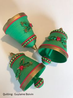 Cloches de Noël en quilling - Quilled Christmas bells - 05-2017