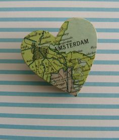 Wooden broche with vintage image from an old atlas.  I love Amsterdam