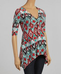 Another great find on #zulily! Red Geometric Maternity Sidetail Top #zulilyfinds