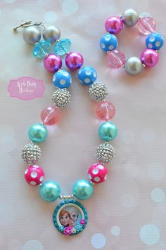 Frozen Disney Princess inspired Chunky Bubblegum Necklace on Etsy, $18.00