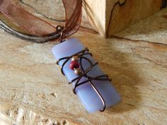 Art Glass Jewelry Wire Wrapped Lavender by UniqueChiqueJewelry