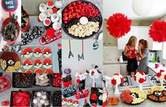 Pokemon baby shower // Pokeball // red black and white