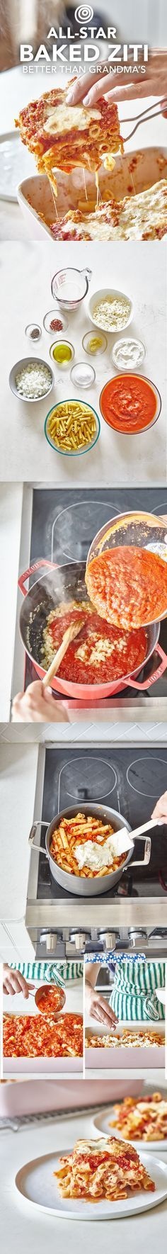 How to Make an All-Star No-Meat Baked Ziti. Better than grandma's! We make ours with ricotta and mozzarella cheese. Feel free to add ground beef or italian sausage if you like it, but this is so good you won't miss it. A classic, crowd-pleasing Italian comfort food recipe for a crowd -- like your family!