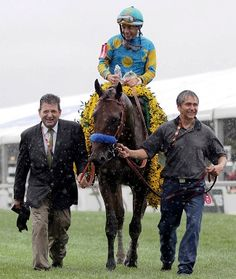 The soggy conditions couldn't dampen the spirits of American Pharoah's connections following his win in the second jewel of the Triple Crown (Cecilia Gustavsson/Horsephotos.com)