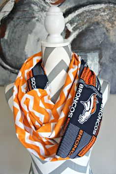 Denver Broncos 2 Tone Orange Navy Blue Chevron by PinkPearBoutique