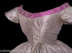 Close up of the bodice from 1860s ball gown