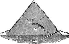 This section diagram of the Great Pyramid at Giza also lets us understand the vast volume of the pyramid itself in comparison with the three rooms and corridors that occupy its interior.