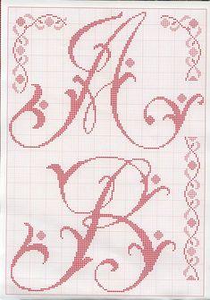sa_46.1 Monogram Cross Stitch, Cross Stitch Alphabet Patterns, Embroidery Alphabet, Just Cross Stitch, Diy Embroidery, Cross Stitch Charts, Cross Stitch Designs, Cross Stitch Embroidery, Stitch Patterns