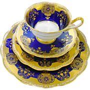 12 PC Royal Albert Cobalt GOLD tea cup service set