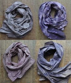 naturally dyed scarves. You could TOTALLY make these!