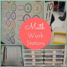 Math Work Stations-This blog post includes strategies and tips for keeping your math work stations organized and easy to implement!