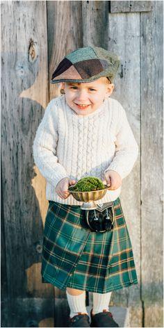 Ring bearer, green tartan kilt, newsboy cap, white cable knit sweater // Maine Tinker Photography