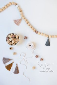 Top Fall Projects for Saturday - Doing Wood Work Diy Fall Crafts best fall diy crafts Diy Tassel Garland, Wood Bead Garland, Beaded Garland, Garlands, Tassels, Pearl Garland, Garland Ideas, Fall Crafts, Holiday Crafts