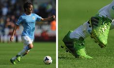 Manchester City's Spaniard David Silva gets the ball under control in warm weather trialling a pair of lime green adidas Predator Laser Zones TRX football boots.   These boots are available here for £69.95 at Galaxy Sports Online.  100% Authentic Worldwide Shipping  Photo Credit: SoccerPro