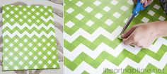 Great tutorial on how to get perfect Chevron with tape. DIY Pumpkin Canvas Art with Buttons