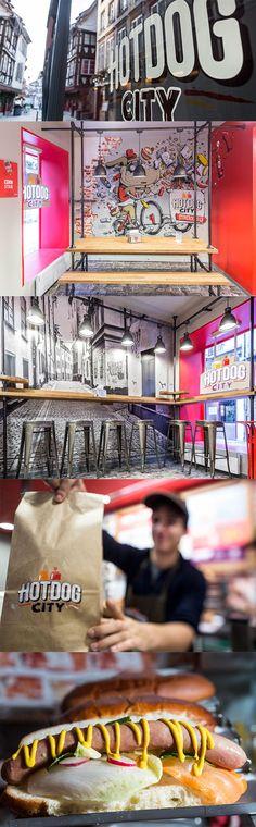 HOT DOG CITY STRASBOURG   Un nouveau concept de street food - PVC imprimé, papier peint imprimé et meubles réalisés par #Graphik. #Graph réalisé par #Stom500 ! #hotdog #streetfood #restaurant