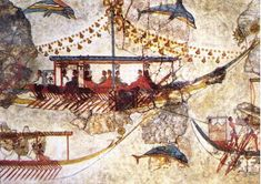 Minoans Traders: wall painting from Acrotiri in Thera (Santorini) showing Minoan ships. Bronze Age BC) Canvas Print Framed, Poster, Canvas Prints, Puzzles, Photo Gifts and Wall Art Greek History, Ancient History, Art History, European History, Ancient Aliens, American History, Creta, Minoan Art, Bronze Age Civilization