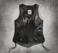 The Avenue Leather Vest features sexy side-lacing and a racy silhouette that will leave 'em speechless.