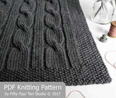 North of the River chunky cable blanket knitting pattern features big, bold cables and a simple seed stitch border. Knitting Terms, Knitting For Charity, Knitting Stiches, Cable Knitting, Circular Knitting Needles, Knitting Patterns, Knitting Help, Knitted Afghans, Knitted Blankets