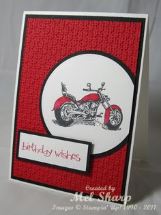 Men Motorcycle - A Stamp Addiction: Stampin' Up Masculine Birthday Cards, Birthday Cards For Men, Masculine Cards, Male Birthday, Boy Cards, Kids Cards, Cute Cards, Cumpleaños Diy, Hand Stamped Cards