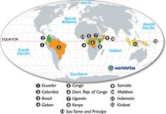 countries on the equator map... aka places I want to live