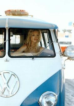 girls and cars - girl in vw bus