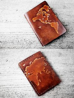 Genuine Leather Personalized World Map Passport Cover