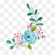Vector, cartoon Flores aquarela Pintado à mão., Flores Coloridas, Aquarela De Flores, Linda FlorPNG e Vector