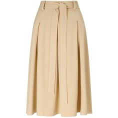 Miss Selfridge Camel Tie Waist Midi Skirt. ($18) ❤ liked on Polyvore featuring skirts, camel, calf length skirts, miss selfridge, pleated skirt, mid calf skirts and tie waist skirt