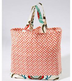 Cute Tote Sewing Pattern made from Home Decor Fabrics | Great for storing things around the house or to use for errands