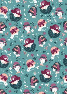 Vintage Fashion Patterns by Paula McGloin, via Behance Japanese Prints, Pretty Patterns, Textile Patterns, Textiles, Pattern Illustration, Stuffed Animal Patterns, Surface Pattern Design, Repeating Patterns, Pattern Wallpaper