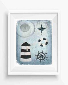 Marine Set, lighthouse, life preserver, anchor, wind rose,Beach Home decor,nautical decor,digital prints,wall art printable