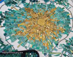 Beginning a energy burst mosaic element for 'VisionShift', a new mosaic installation by Sonia King