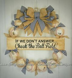 Check out this item in my Etsy shop https://www.etsy.com/listing/277412842/baseball-wreath-with-navy-and-white