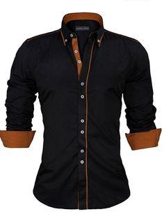 Camisa Casual Social con Detalles en Contraste - Estilo Actual - en Blanco c59860b731db6