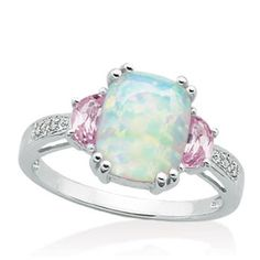 Opal and pink sapphire ring