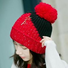 Red fleece knit hat with pom pom for women color block warm winter hats 62f14922182f