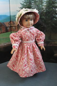 Victorian style Day Dress and Straw Bonnet in Rose and Cream Reproduction Print -- C71