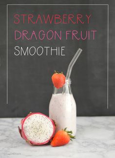 Easy and healthy fruit smoothie recipe using dragon fruit and strawberries perfect for summer! Dragon Fruit Smoothie, Healthy Fruit Smoothies, Fruit Smoothie Recipes, Healthy Fruits, Recipes Using Dragon Fruit, All Fruits, Strawberries, Drinking, Healthy Living