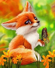 Cartoon Fox and Butterfly - Diamond Painting Kit - Square Drill 40X50cm