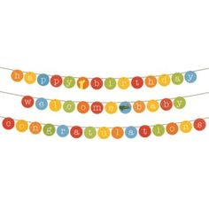 """Spell out exactly what you want to say by making your own colorful garlands.  Kit lets you say """"Happy Birthday,"""" """"Congratulations"""" or """"Thanks for Eating Your Peas. """"Details, details A Lorena Siminovich design Includes five yards of colored ribbon and 80 multicolored alphabet and animal tiles Each tile measures 5"""" dia."""