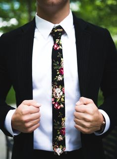 Black Floral Skinny Tie 2 Inch Necktie Retro by MYTIESHOP on Etsy