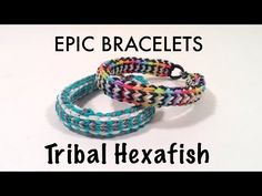 Here is my latest design, the Tribal Hexafish! This is a variation on Justinstoys' famous Hexafish, and Jo Hunt's Tribal Fishtail. It is an advanced level br. Crazy Loom Bracelets, Rainbow Loom Bracelets Easy, Loom Band Bracelets, Rainbow Loom Tutorials, Rainbow Loom Creations, Rubber Band Bracelet, Loom Bands Tutorial, Bracelet Tutorial, Rubber Band Crafts