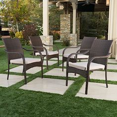 San Pico Outdoor Wicker Stacking Chairs (Set of by Christopher Knight Home (Multibrown Wicker with Beige Cushions), Brown, Patio Furniture (Fabric)